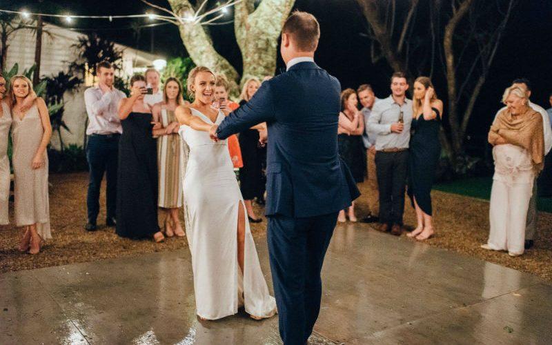 Having fun celebrating their wedding in Byron Bay