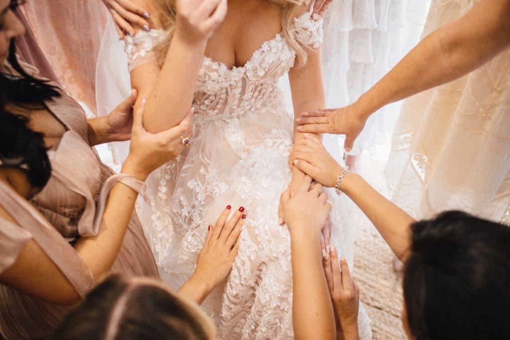 Close Up of Emily's Dress - Nelder Jones Wedding